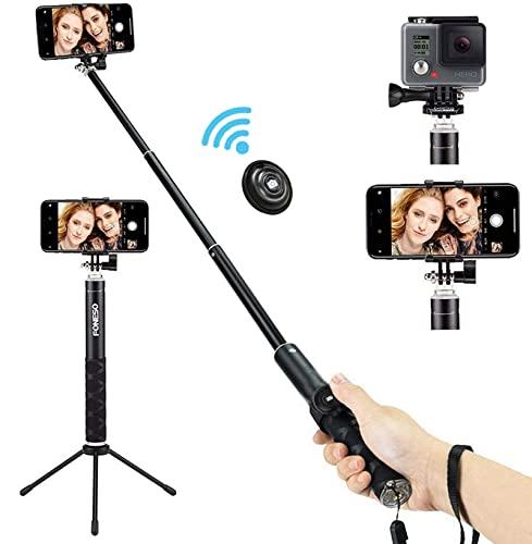 Foneso Selfie Stick Bluetooth, Stick per Selfie con Treppiede per Smartphone e Fotocamera, Nero