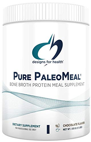 Designs for Health Pure PaleoMeal - Bone Broth Protein Powder with 17g Protein, Meal Replacement Shake Dietary Supplement with Folate + Chelated Minerals, Chocolate (15 Servings / 510g)