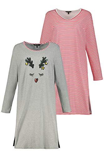 Ulla Popken Damen Bigshirt, Doppelpack Nachthemd, hellrot, 66-68