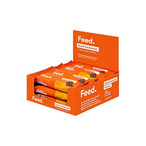 Feed. - Barretta Proteica Energetica con Ginseng e Caffeina - Banana - Confezione da 12 Snack x 40g - Proteine Vegane - Pasto Sostitutivo