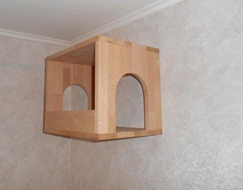 Katzen Wandpark, handgefertigte Tiermöbel / Luxusmöbel, Katzenmöbel in vielen Ausführungen, Kratzbaum / Katzenbaum für die Wand. Hier: Schlafkasten Nr. 1 (1P1777d)