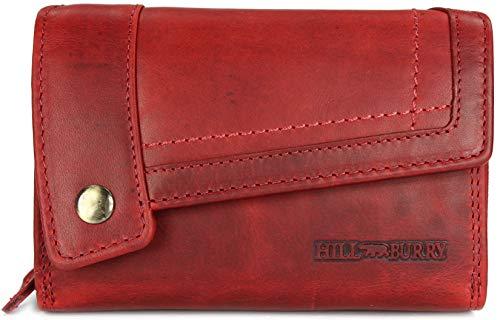 Hill Burry hochwertige Vintage Leder Damen Geldbörse Portemonnaie Dickes und kompaktes Portmonee Geldbeutel aus weichem Leder in rot - 14,5x10x5cm (B x H x T)