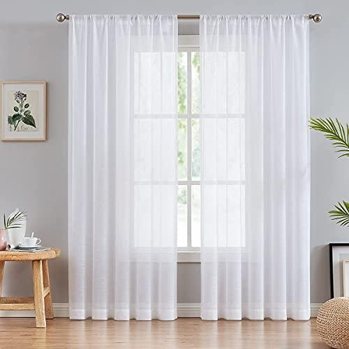 "FMFUNCTEX White Sheer Curtains 96"" Length Living-Room Window Panel Draperies for Bedroom 2 Panels,Rod Pocket"