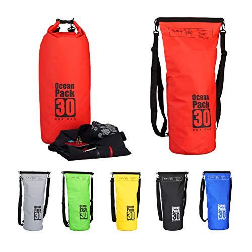 Relaxdays Sac étanche Ocean Pack 30 litres léger compact extérieur kayak ski sport voile snowboard, rouge