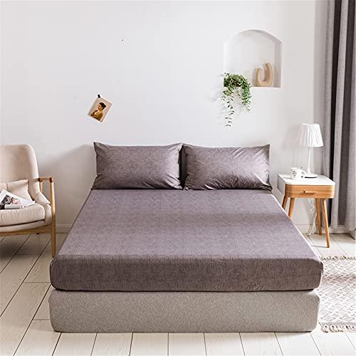 QQSM Set di biancheria da letto, 4 pezzi, biancheria da letto, lenzuolo e federa, versatile e confortevole, per adulti marrone, 99 x 190 x 35 cm
