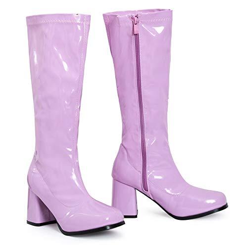 Shelikes Lackstiefel für Damen, schicker Partylook, im 1960er/1970er Retro-Stil glänzender Plateau-Stiefel, Größe 36-40, Pink - Rosa Lackierung - Größe: 36 EU