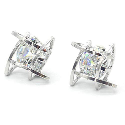 N-K PULABO Premium Quality Fashion Square Cubic Zircon Stud Earrings for Girl's Women,Silver Beautiful