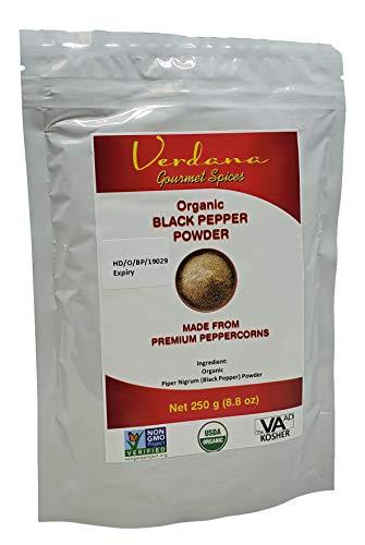Verdana Organic Black Pepper Powder (Fine Ground), 250 g (8.8 oz) size, USDA, Kosher, Non-GMO Verified Premium Grade, From High Purity Peppercorns
