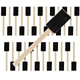 US Art Supply 1 inch Foam Sponge Wood Handle Paint Brush Set (Value Pack of 25) - Lightweight, durable and...