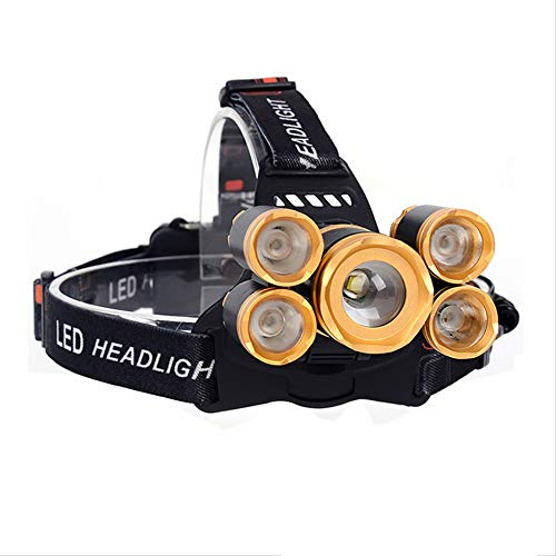 Hhxiao Linterna Frontal LED 5 * Led Xml T6 Faro 7000