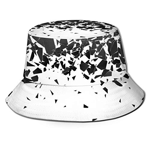 gii6LMLMLFGHLBB Debris After Explosion 100% Cotton Cute Print Fishing Hunting Bucket Cap Breathable Fischerhut Black