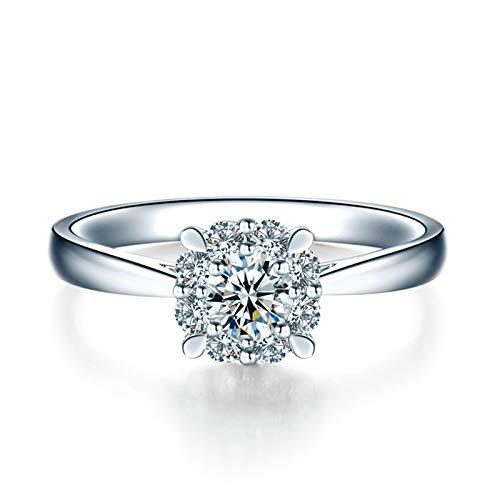 Daesar Anillo Oro Blanco 18K,Anillos de Compromiso Mujer Plata 4 Garras con Redondo 0.07ct Diamante Blanco 0.07ct Anillo Talla 27