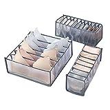 Yagosodee Caja de almacenamiento de ropa interior de cajón de malla plegable sujetador compartimental y bragas acabado caja de almacenamiento 3pcs/set (gris)
