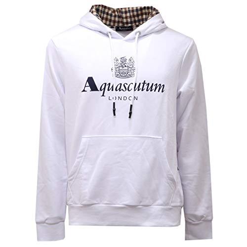 Aquascutum Felpa London Made in Italy 100% Cotone Manica Lunga Uomo QMF005L0 (Bianco, XL)