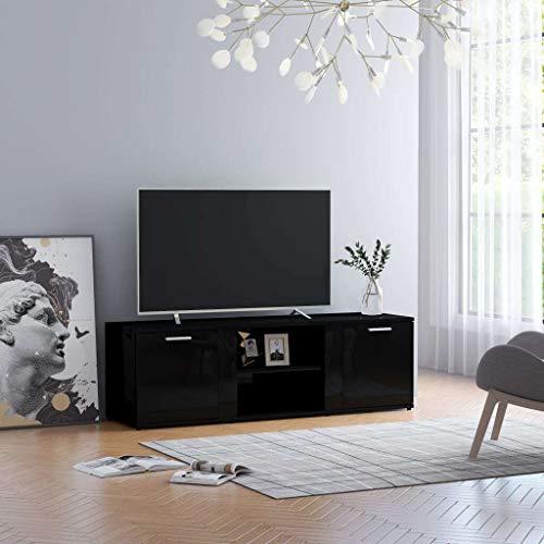 vidaXL Meuble TV Armoire Basse Meuble Divertissement avec 2 Portes et 2 Compartiments Salon Maison Intérieur Noir Brillant 120x34x37 cm Aggloméré