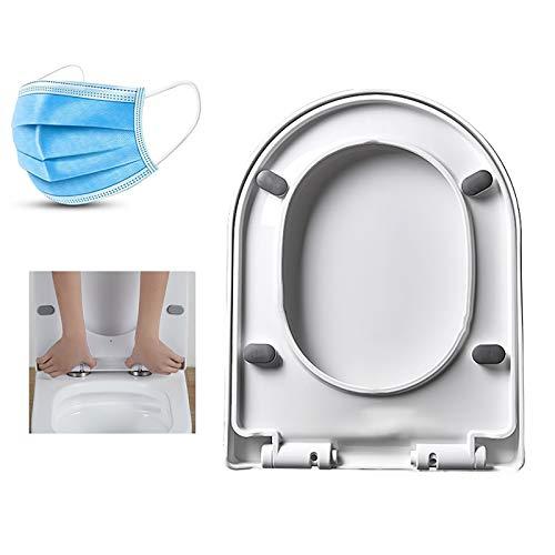 En Forma de U de Asiento de Inodoro de plástico de Cierre Lento silencioso Accesorios de baño WC Aseo extraíble Asientos Cubierta, reciclable, Suave, Blanca, desmontaje rápido L