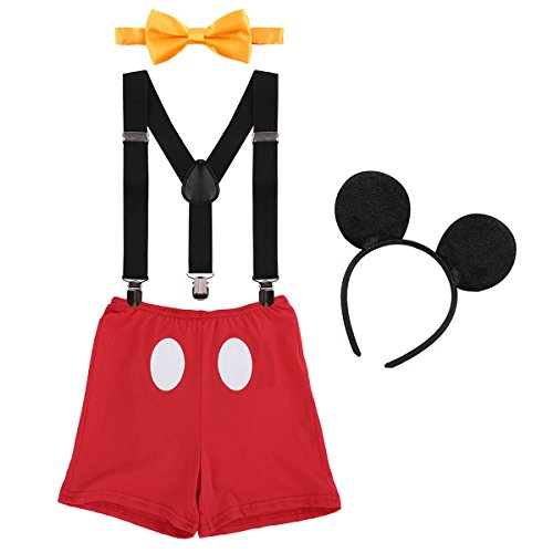 ODASDO Baby Boy Cake Smash Outfit Toddler Kids 2nd 3rd Birthday Costume Photo Props Y-Back Suspenders + Boxer Shorts Pants + Bow Tie + Ear Headband Photography Set 4pcs Red 2-3T