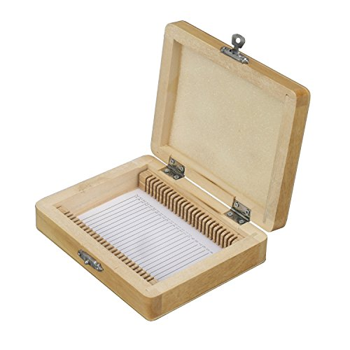 AmScope Wood Microscope Slide Storage Box, Holds up to 25 Blank, Prepared Slides