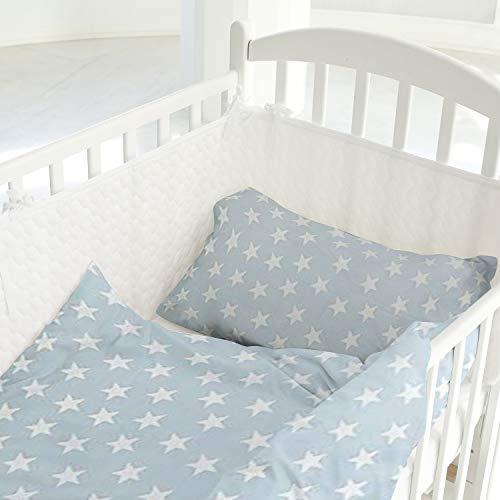 Aminata Kids - Baby Bettwäsche 80x80 35x40 Babybettdecke Bettbezug Baby Sterne Kinder-Bett-Decke Kissen-Bezug für Stuben-Wagen, Kinder-Wagen Wiegen-Set Jungen und Mädchen Baumwolle hell-blau weiß
