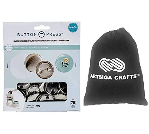 We R Memory Keepers Paquete de 25 recambios de prensa de botón mediano (37 mm), paquete de 1 paquete WR661070 con bolsa de proyectos pequeños Artsiga Crafts