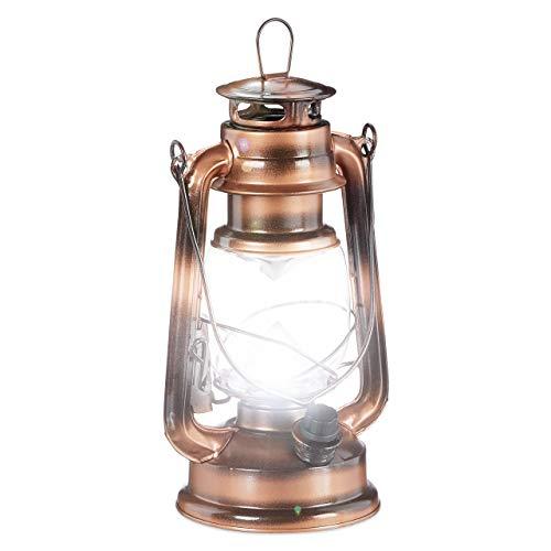 Relaxdays Lanterne tempête LED, Retro comme décoration de fenêtre ou Lampe Jardin, à Piles, cuivrée