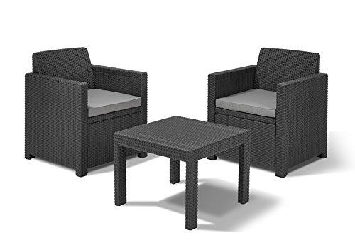 Allibert Allegro Balcony Salon de Jardin avec 2 fauteuils et 1 Table en Plastique Effet rotin Graphite