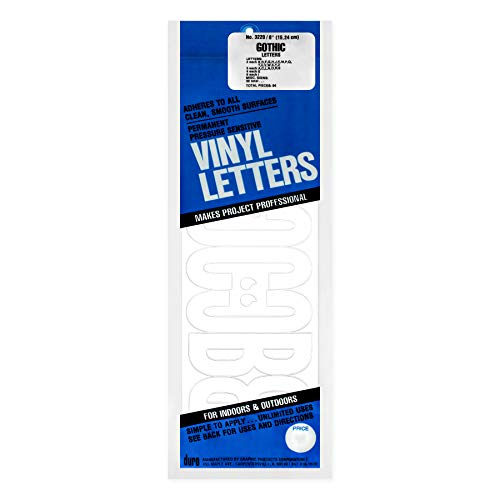 Duro D3220WHT Permanent Adhesive Vinyl Letters 6Inch White