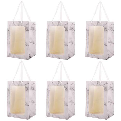 VALICLUD 6Pc tragbare Blumenstrauß Packtaschen Marmor Textur Fenster Geschenk Handtaschen