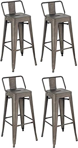 Gbrand Juego de 4 taburetes de Bar Silla apilable de Metal con Respaldo, Moderno y liviano Industrial con Respaldo de Cubo de Metal Taburete de Bar para Cocina Comedor Pub café bistró marrón