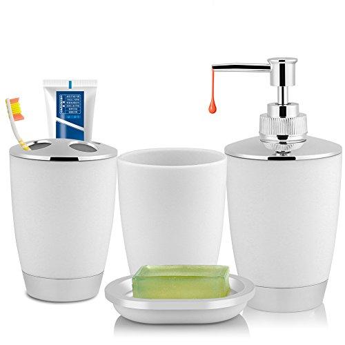 Fdit 4 Unids/Set Accesorios de Baño Incluye Taza Sostenedor de Cepillo de Dientes Dispensador de Jabón Taza de Lavado Accesorios de Baño Decorativos Socialme-EU(Blanco)