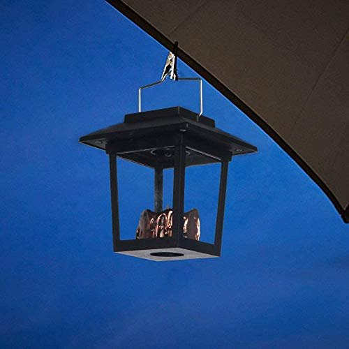 Solar Solar Hanging Lantern Candle 6 Light Waterproof Outdoor Garden Lights Flashing LED lamp Flame,Black