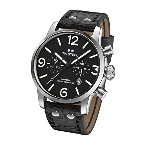 TW Steel Unisex Erwachsene Chronograph Quarz Uhr mit Leder Armband MS64