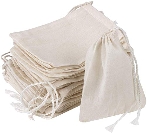 GIYOMI 20 Pcs Muslin Drawstring Bags,Natural Unbleached Cotton Straining Herbs Cheesecloth Bags, Coffee Tea Brew Bags, Soup Gravy Broth Stew Bags, Bone Broth Brew Bags,Spice Bags(4x3 inches)