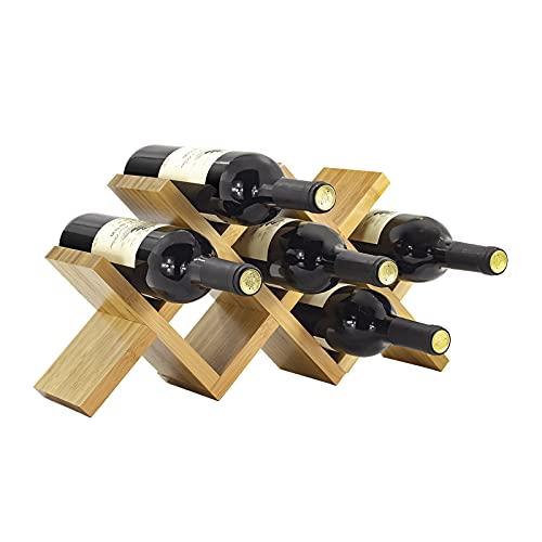 Heavy Botelleros Titular de la Botella de Vino, Estante de Vino de 7 Botellas, Soporte de Almacenamiento de Vino para decoración del hogar, Bar, Bodega, sótano, gabinete, despensa