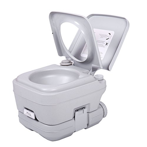 Sandinrayli Portable Toliet 2.8 Gallon 10L Outdoor Camping Toilet Potty Flush, Grey