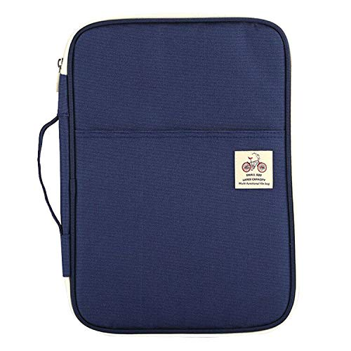 JAKAGO Travel Portfolio Organizer Waterproof A4 Document Bag Zippered Travel Pouch for Notebook, Ipad, Journals, Sketch, Books Carrying Case (Blue)