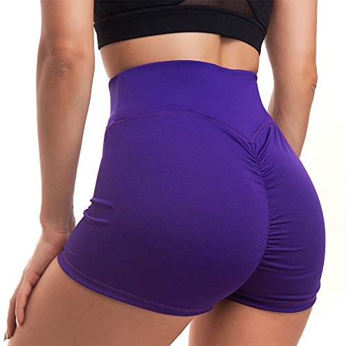 DODOING Damen Hohe Taille Gerüscht Butt Lifting Yoga Shorts Stretchy Workout Gym Laufen Sport Fitness Shorts