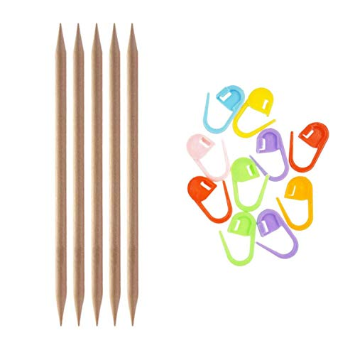 Knitter's Pride Knitting Needles Basix Double Pointed 8 inch (20cm) Size US 13 (9.0mm) Bundle with 10 Artsiga Crafts Stitch Markers 400102
