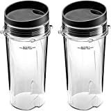 Blender Cups, Single Serve 16-Ounce Cups with Sip Lid (Pack of 2) for Nutri Ninja BL770 BL780 BL660...