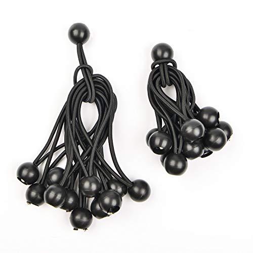 Tensores con Bola 10cm y 15cm, lona para toldo Amarre Cordón Negro, 24 piezas