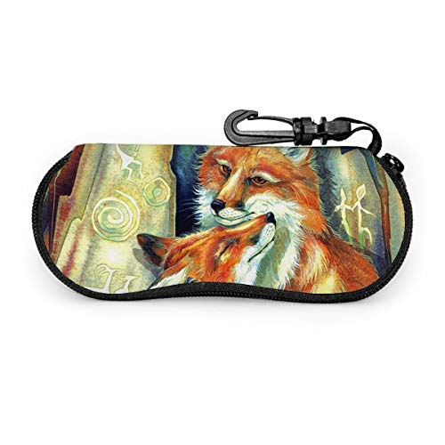 Soft Sunglasses Case With Carabiner Keychain, Fox Love Ultra Light Portable Neoprene Zipper Eyeglass Bag
