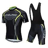 AICTIMO Traje Ciclismo Maillots Ciclismo Hombre Verano+ Pantalones Corto Ciclismo Acolchado de Gel Culotte y Maillot para MTB, Spinning, Bicicleta (verde2, S)