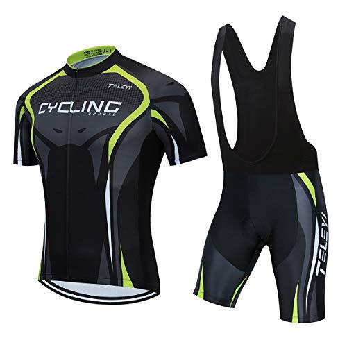 AICTIMO Traje Ciclismo Maillots Ciclismo Hombre Verano+ Pantalones Corto Ciclismo Acolchado de Gel Culotte y Maillot para MTB, Spinning, Bicicleta (verde2, L)