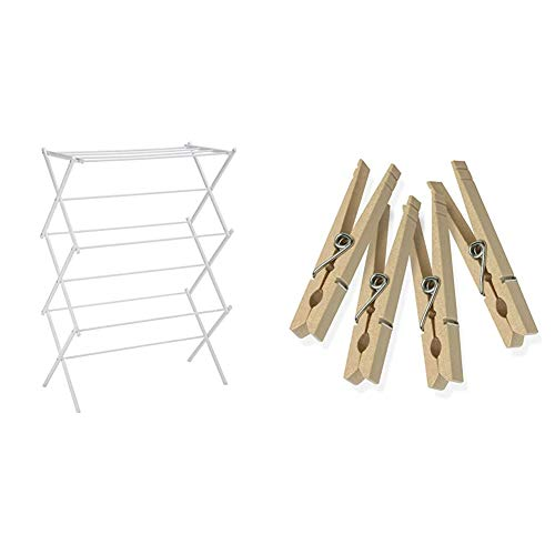 AmazonBasics Foldable Clothes Drying Laundry Rack - White & Honey-Can-Do DRY-01375 Wood Clothespins with Spring, 50-Pack, 3.3-inches Length,Brown