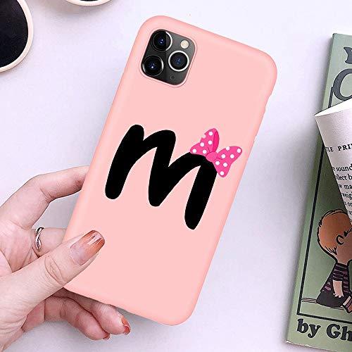 XMCJ Nudo del Arco-Carta de Cubierta del Monograma A B C D Rosa Suave del teléfono for el iPhone 11 Pro X XS MAX 8 7 6 6S Plus 5S SE Pareja Shell XR