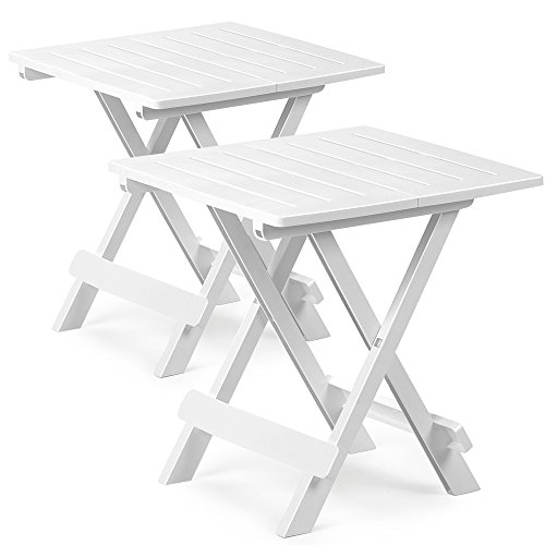 2x Table de jardin Adige Table d'appoint Balcon Terrasse 45 x 43 x 50 cm Blanc
