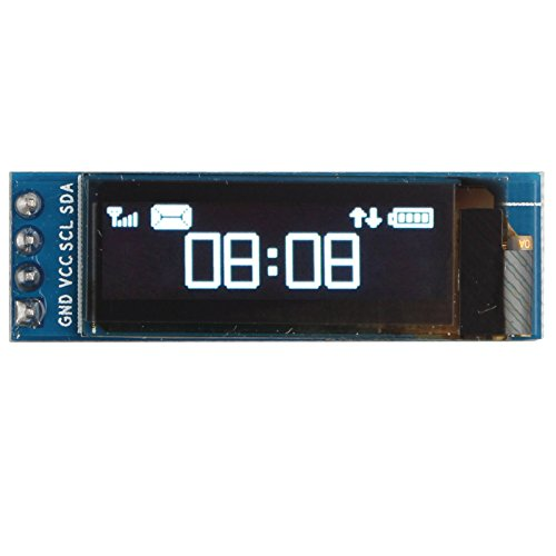 HALJIA 0.91' Inch White I2C IIC OLED Serial 128x32 LCD LED Display Module SSD1306 Driver IC DC 3.3V 5V Compatible with Arduino C51 STM32