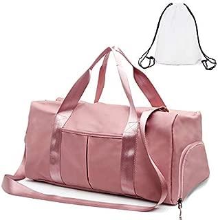Gym Duffle Bag Dry Wet Separated Gym Bag Sport Duffle Bag Training Handbag Yoga Bag with Extra Drawstring Backpack Pink