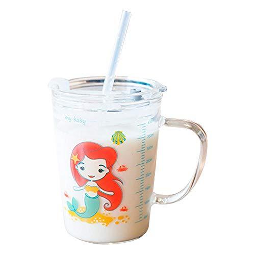 Volwco, tazze con coperchio e cannuccia per bambini, a prova di perdite, trasparenti con scala resistente al calore, tazza per latte per bambini