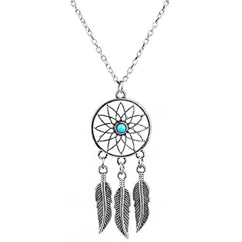 lauhonmin Hot Women Jewellery Retro Turquoise Feather Tassel Dream Catcher Pendant Necklace Family Friend Gift Silver
